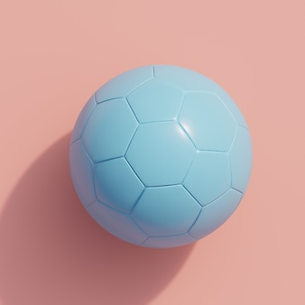 Blue ball on pink, top view