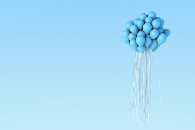Blue balloon on sky.