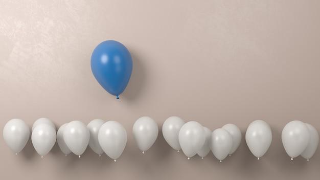 青い風船は白い群衆の中で際立って、高いコンセプトを飛ぶ