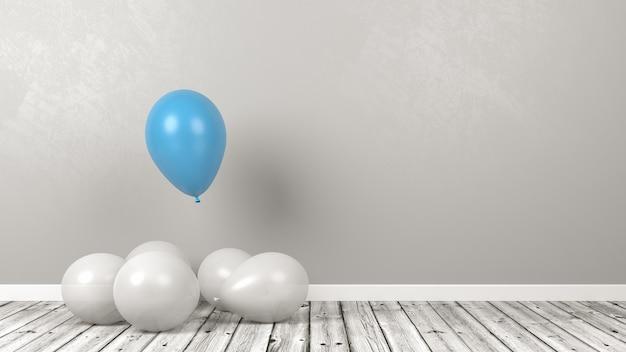 青い風船は白い群衆の中で際立って、異なる概念を考えます
