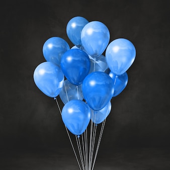 Blue balloons bunch on a black wall background. 3d illustration render