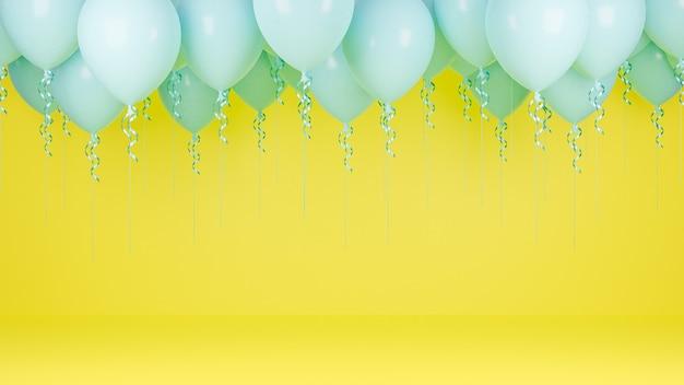 黄色のパステルカラーの背景に浮かぶ青い風船。誕生日パーティーと新年のコンセプト