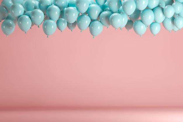 Blue balloons floating in pink pastel background room studio.