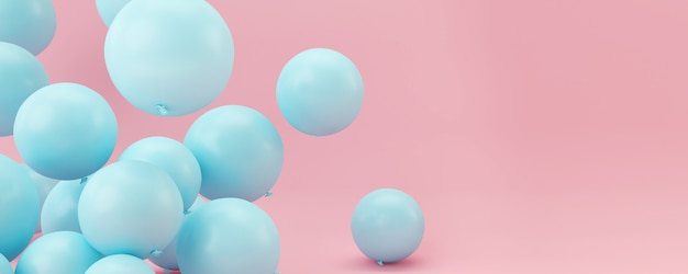 Blue balloons on pastel pink background.