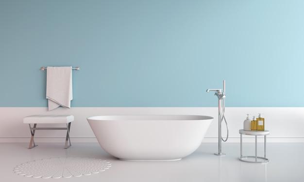 Blue bathroom interior bathtub