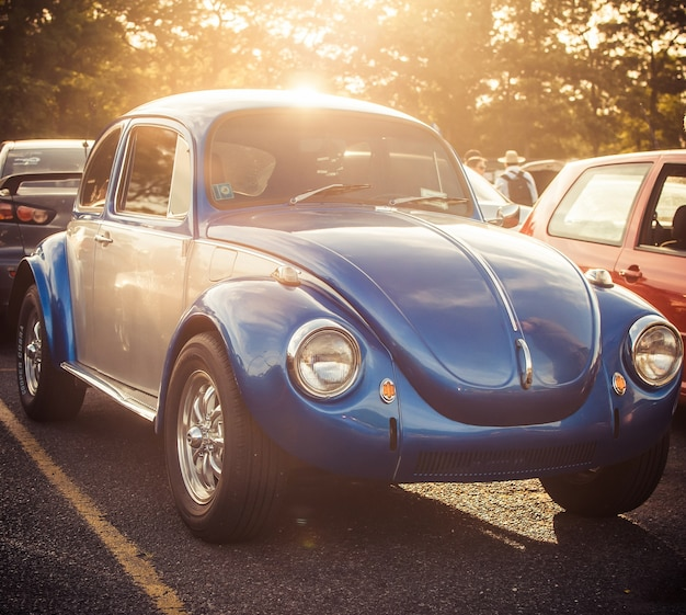 Blue beatle стоит на дороге
