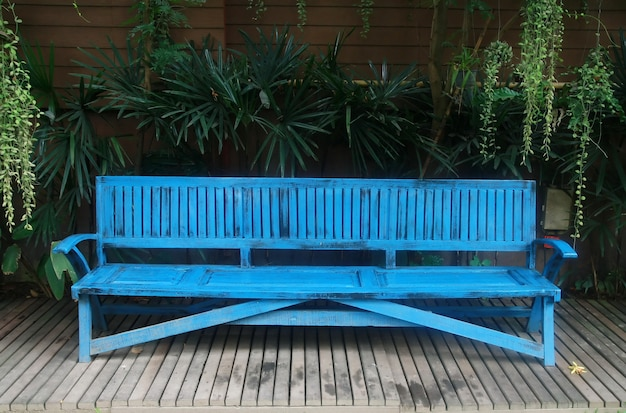 Blue bench in garden
