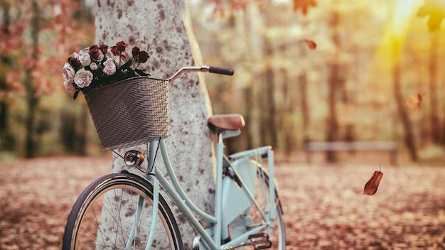나무 옆에 파란 자전거