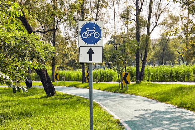 Blue bicycle road sign with one-way street.
