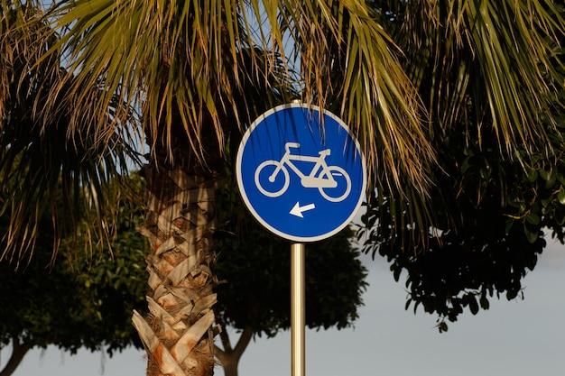 晴れた日光の下で青い空を背景にヤシの木の後ろに青い自転車の看板
