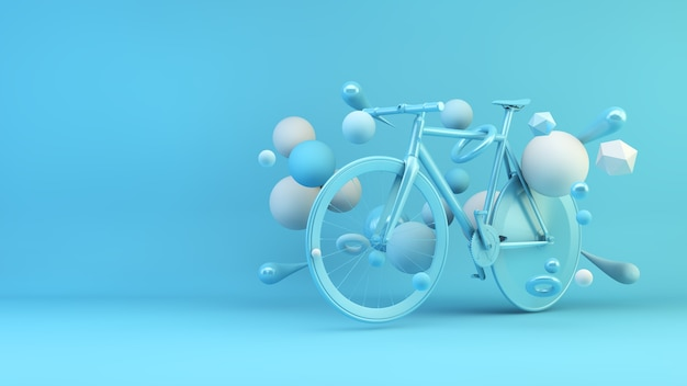 Blue bike surrounded by geometrical shapes 3d rendering