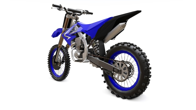 Blue and black sport bike for cross-country on a white surface