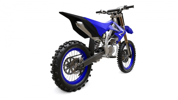 Blue and black sport bike for cross-country on white