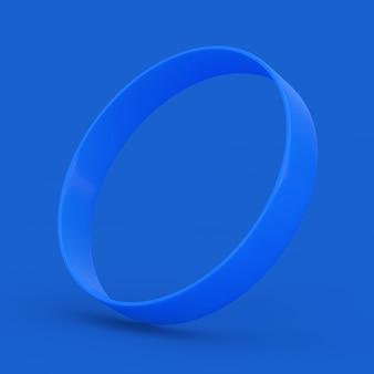 파란색 배경에 파란색 빈 프로모션 고무 또는 실리콘 손 팔찌. 3d 렌더링