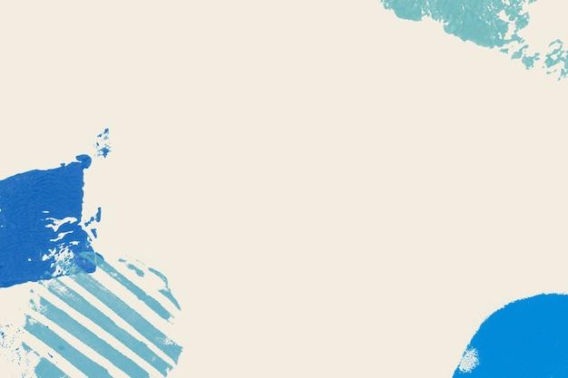 ベージュの背景に青いブロックプリントフレーム