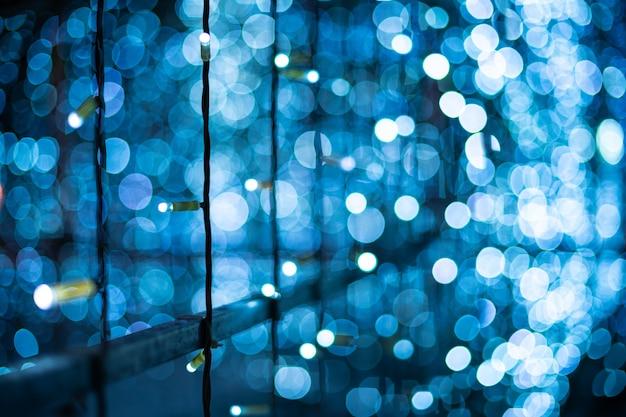 Blue bokeh blurred lights background