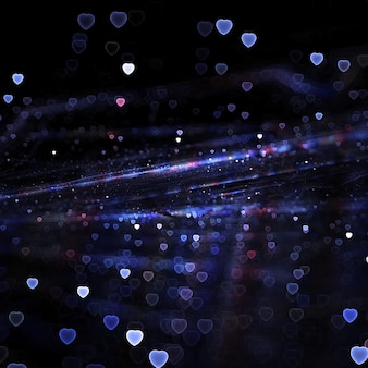 Синий обои боке сердца