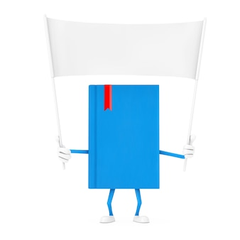 Blue book character mascot and empty white blank banner with free space for your design on a white background. 3d rendering
