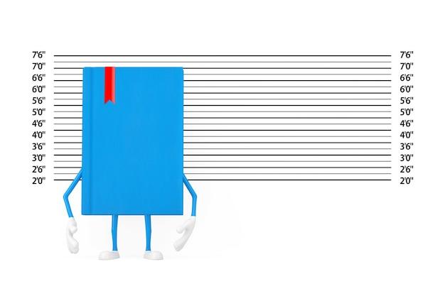 경찰 라인업 또는 mugshot 배경 극단적인 근접 촬영 앞의 파란색 책 캐릭터 마스코트. 3d 렌더링