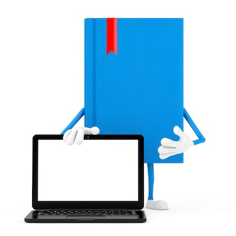Blue book character mascot and modern laptop notebook computer with blank screen for your design on a white background. 3d rendering