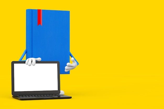 Blue book character mascot and modern laptop notebook computer with blank screen for your design on a yellow background. 3d rendering