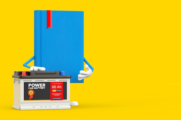 Blue book character mascot and rechargeable car battery 12v accumulator with abstract label on a yellow background. 3d rendering