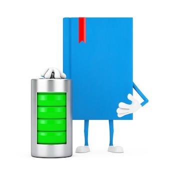 Blue book character mascot with abstract charging battery on a white background. 3d rendering