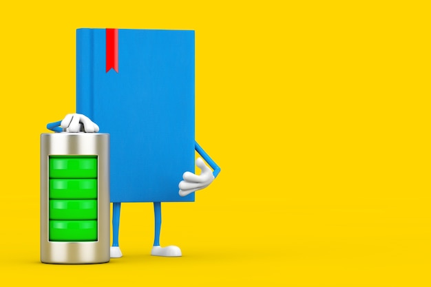 Blue book character mascot with abstract charging battery on a yellow background. 3d rendering