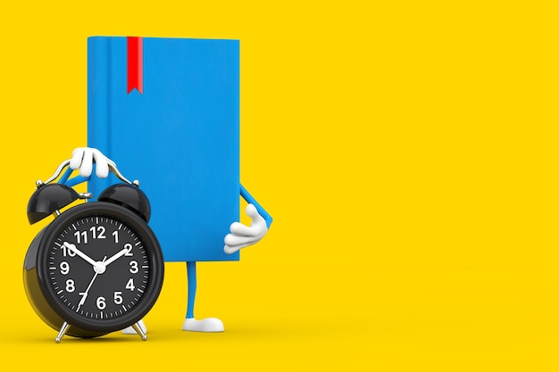 Blue book character mascot with alarm clock on a yellow background. 3d rendering