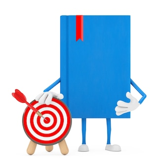 Blue book character mascot with archery target with dart in center on a white background. 3d rendering