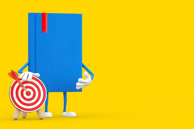 Blue book character mascot with archery target with dart in center on a yellow background. 3d rendering