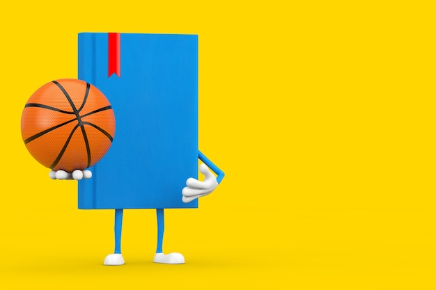Blue book character mascot with basketball ball on a yellow background. 3d rendering
