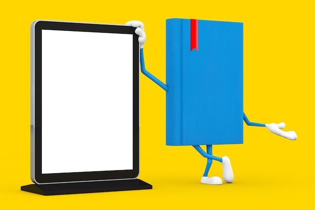 Blue book character mascot with blank trade show lcd screen display stand as template for your design on a yellow background. 3d rendering