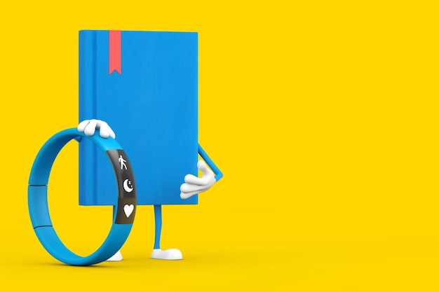 Blue book character mascot with blue fitness tracker on a yellow background. 3d rendering
