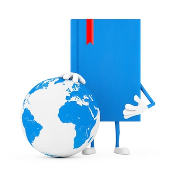 Blue book character mascot with earth globe on a white background. 3d rendering