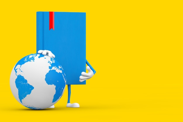Blue book character mascot with earth globe on a yellow background. 3d rendering