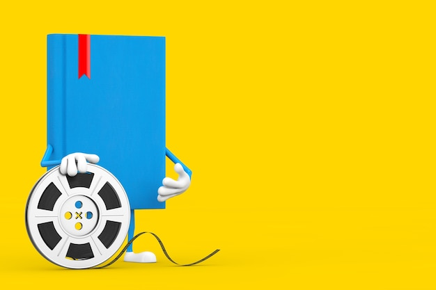 Blue book character mascot with film reel cinema tape on a yellow background. 3d rendering