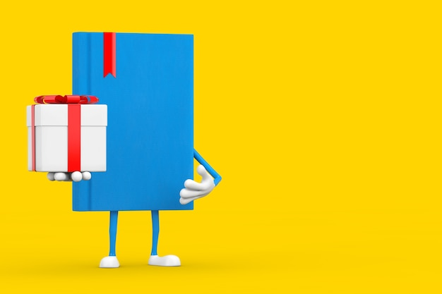 Blue book character mascot with gift box and red ribbon on a yellow background. 3d rendering