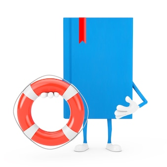 Blue book character mascot with life buoy on a white background. 3d rendering