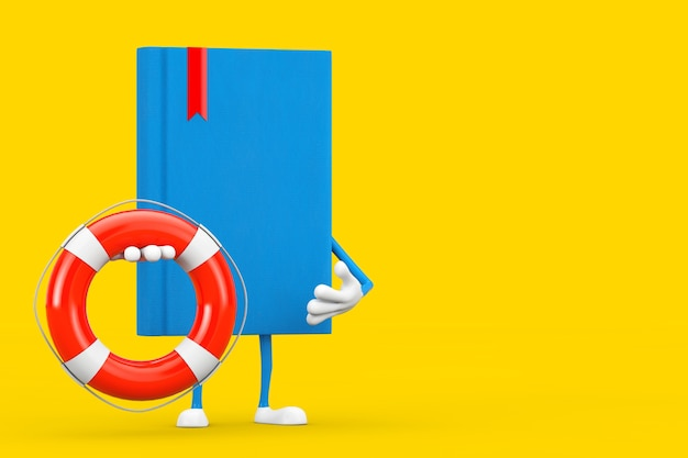 Blue book character mascot with life buoy on a yellow background. 3d rendering