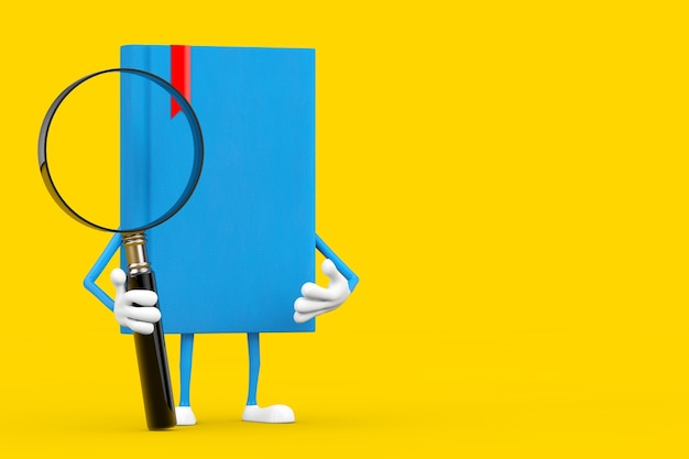 Blue book character mascot with magnifying glass on a yellow background. 3d rendering