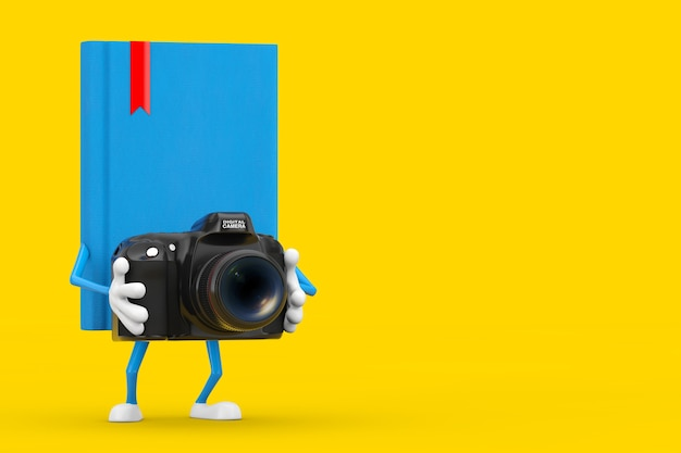 Blue book character mascot with modern digital photo camera on a yellow background. 3d rendering