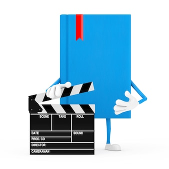 Blue book character mascot with movie clapper board on a white background. 3d rendering