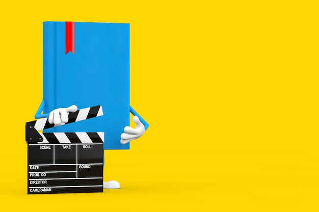 Blue book character mascot with movie clapper board on a yellow background. 3d rendering