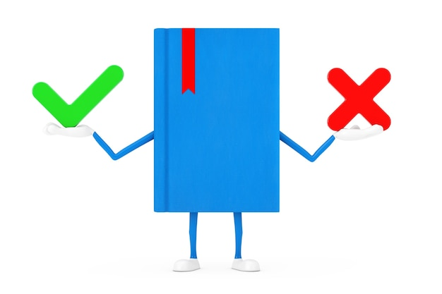 Blue book character mascot with red cross and green check mark, confirm or deny, yes or no icon sign on a white background. 3d rendering