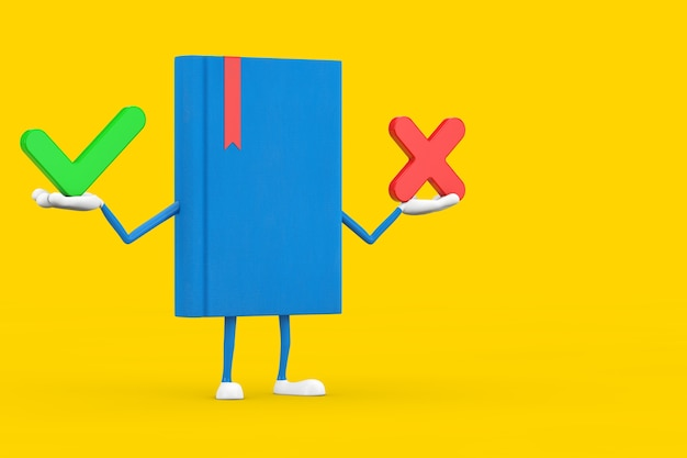 Blue book character mascot with red cross and green check mark, confirm or deny, yes or no icon sign on a yellow background. 3d rendering