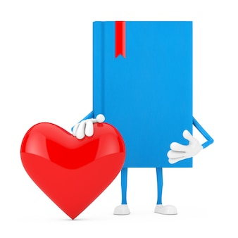 Blue book character mascot with red heart on a white background. 3d rendering