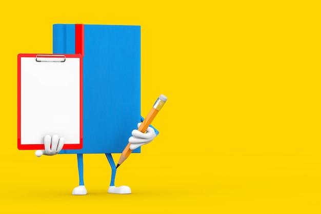 黄色の背景に赤いプラスチッククリップボード、紙、鉛筆で青い本のキャラクターのマスコット。 3dレンダリング