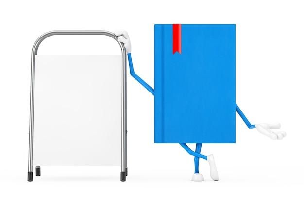 Талисман характера голубой книги с белой пустой стойкой продвижения рекламы на белой предпосылке. 3d рендеринг
