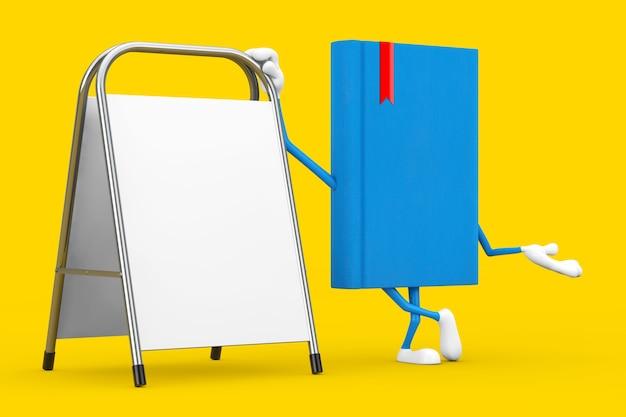 Талисман характера голубой книги с белой пустой стойкой продвижения рекламы на желтой предпосылке. 3d рендеринг